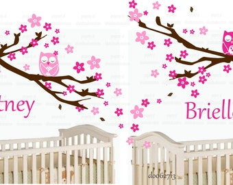 owl wall decal - twins decal - CHILDREN WALL DECAL - Blossom Cherry with Owls  Custom  your name a  wall decal for Nursery, kids room