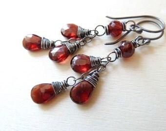 Red Garnet earrings. Dangle earrings. January Birthstone earrings. Wire wrapped. Drop earrings. Cluster. Garnet jewelry