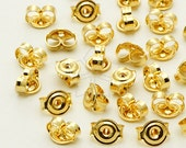 XC-111-GD / 100 Pcs - High Quality Ear Studs Back Stoppers, 16K Gold Plated Brass