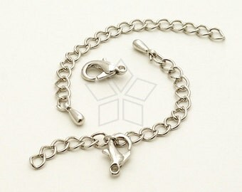 SL-015-OR / 20 set - Extender Chains with a Lobster Clasp for Chain Necklace, Silver (Rhodium) Plated / 50mm