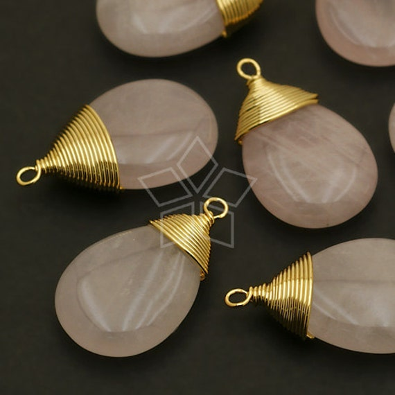 GM-R14-RO / 2 Pcs - Rose Quartz Smooth Drop Pendant, Gold Plated Wire Wrapped / 12mm x 20mm