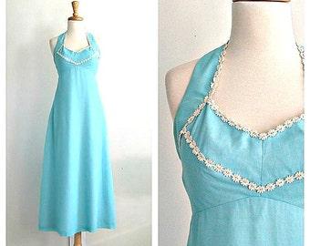 1970s Halter Dress -  maxi dress - summer wedding - backless - california dreaming - boho hippie - halter maxi - small