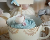 mr & mrs Party Picks - cream with pastel blue bows - set of 10