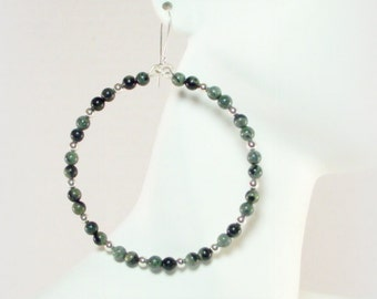 Kambaba Jasper and Silver Beaded Hoop Earrings - Green Earrings