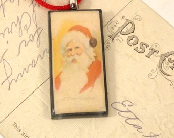Vintage Postcard Necklace - Santa - A Merry Christmas to You