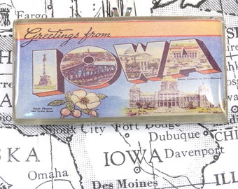 Greetings from IOWA Vintage Large Letter Postcard Pendant Necklace