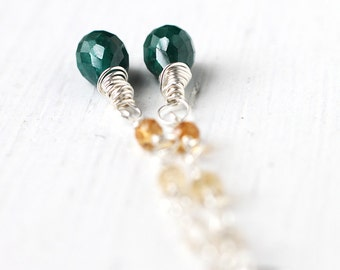 Emerald and Citrine Earrings, Genuine Gemstone Wire Wrapped in Sterling Silver, May Birthstone