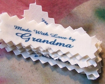 Clothing Labels Grandma Gramma MeMe or Mommy Made with Love by Sew in Garment Tags Qty 15 Fabric Designer  Premade Ready to Ship!