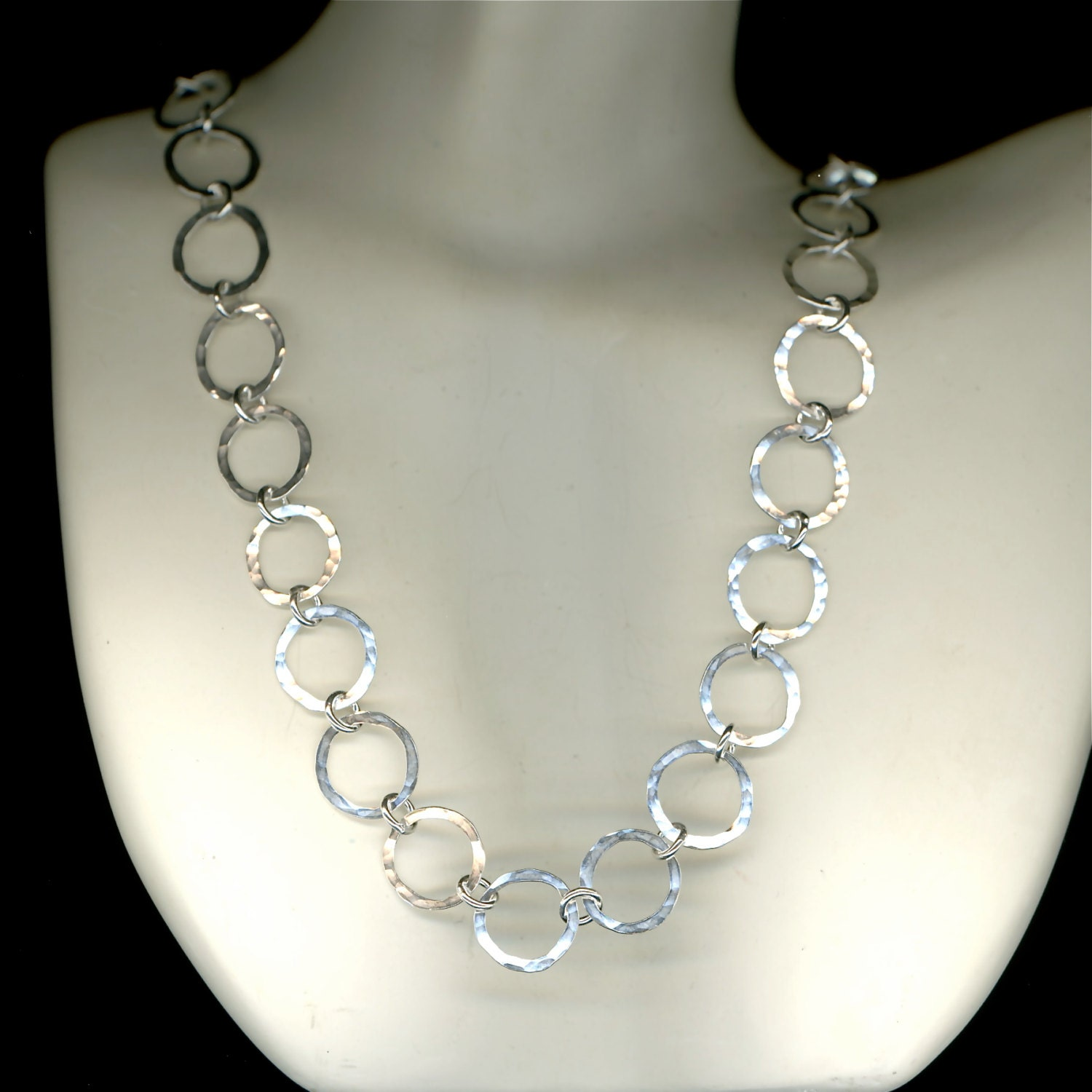 Hammered Circle Necklace Large Link Wire Silver Chain Necklace