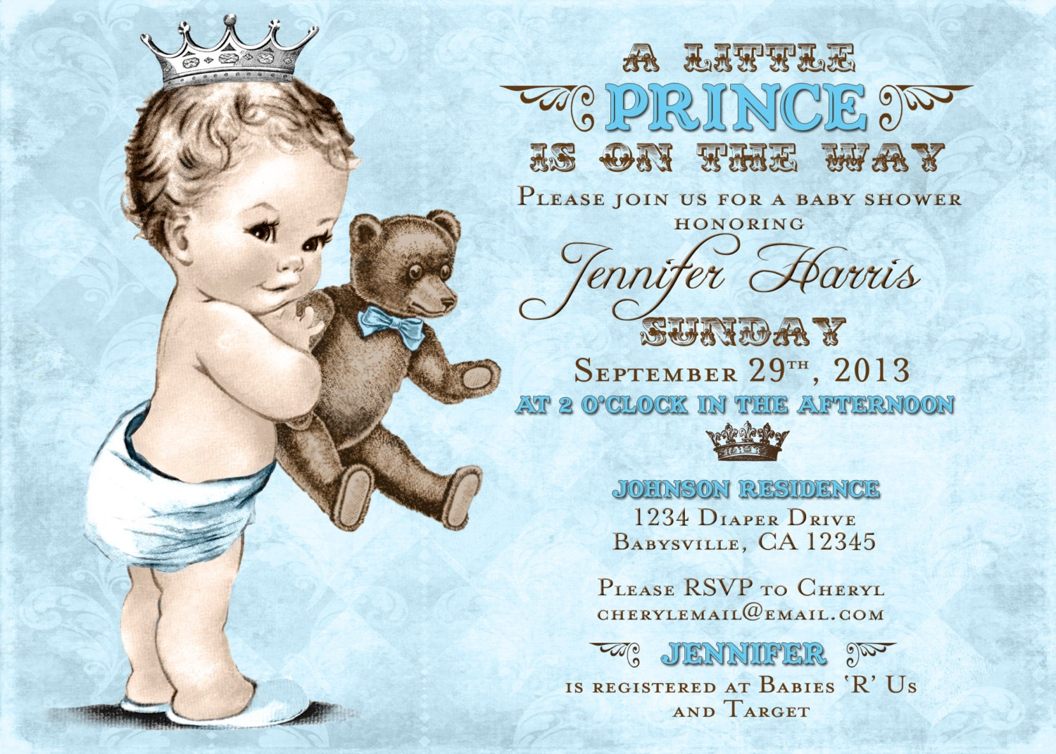 teddy bear baby shower invitation for boy prince crown, Baby shower invitations
