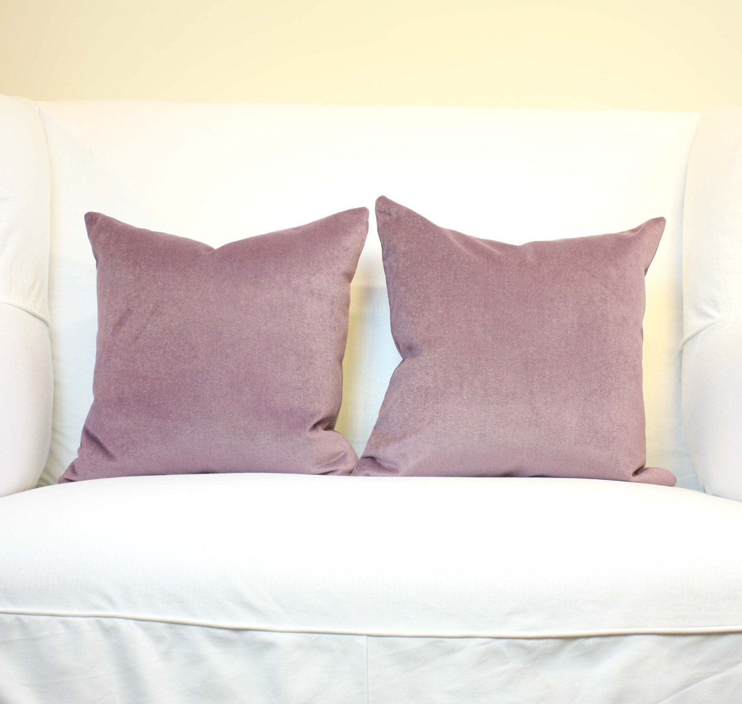 Decorative Pillow Lilac : Set of Two Lilac Velvet Pillows Decorative Pillow Covers