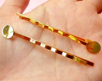 Hair Pin Blanks / Hair Clip Barrette Blank / Hairclip Blanks / Blank Hairpin with 8mm Pad (10 pcs / Gold) Hair Accessories Making F091