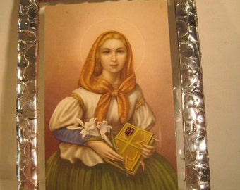 Saint Dymphna Stained Glass Holy Prayer Card Keepsake Prayer for Mental and Nervous Disease