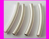 4x 4mm x 35mm Sterling Silver Bangle Curve Arch plain Tube Bead Spacer S435