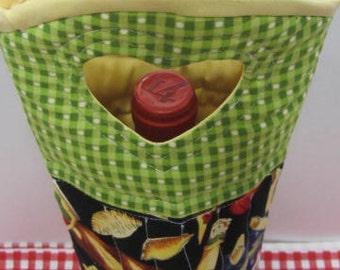 Wine Bag Italian Food Inspired  Rare Fabric Wine Tote Bag