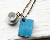 Book and Tea Cup Necklace, Blue Book Necklace, Miniature Book Necklace, Teacup Necklace, Coffee Cup Necklace