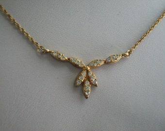 Avon Gold Tone Rhinesyone Necklace