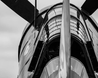 Curtis Helldiver Airplane, Fine Art Photography, Black and White Photography
