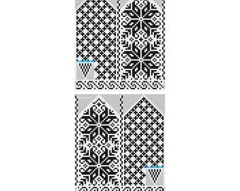 Selbu Mittens - Norwegian Rose - Pattern - Knitting Chart - Diagram - Instant Digital Download - PDF