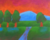 expressionistic landscape painting, colorful mountain landscape, red and green landscape painting, red sky, FREE shipping