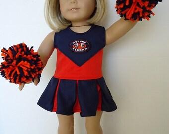 Auburn University Cheerleader, pompoms, shoes for American Girl Doll