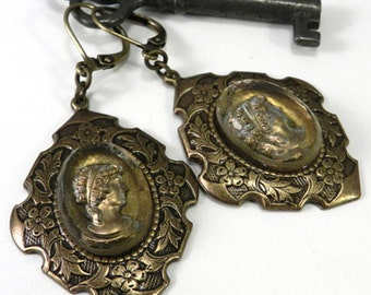 Victorian Earrings  - Silver & Gold Vintage Style German Glass Intaglio Cameo Earrings by Compas Rose Design