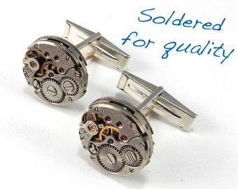 Watch Movement Cufflinks Steampunk Cuff Links SOLID Sterling SILVER - Steampunk Jewelry by Compass Rose Design