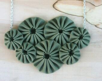 Bib necklace - yoyo fabric textile statement  accessory in army green