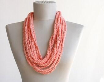Peach summer scarf skinny infinity versatile crochet vegan  boho necklace