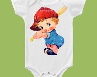 Little Slugger, Vintage Baseball Boy, Baseball t-shirt, baby one piece bodysuit, shower gift, by ChiTownBoutique.etsy