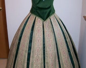 Frozen Anna Coronation Gown Dress  Embroidered Bodice Pleated Skirt  Women 2 4 6 8 10 12 Custom