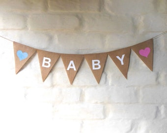 BABY Banner Hessian Burlap Nursery Baby Children Celebration Baby shower Party Garland Bunting Decoration New Baby pink blue
