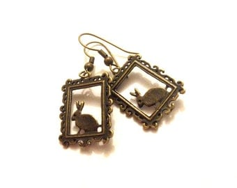 Antique Brass Vintage Frame Bunny Silhouette Charm Earrings