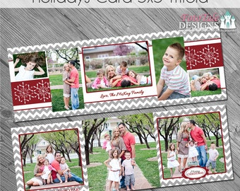 INSTANT DOWNLOAD - Holiday Trifold Christmas Card - 5x5 Tri-fold photo card templates for photographers