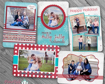 Holly Jolly Christmas Wallet Collection- 5 custom photo templates for photographers