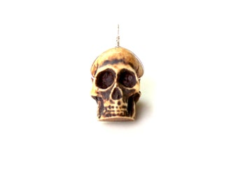 Skull pendant / gothic neutral day of the dead tribal pendant / wire wrapped pendant / charm key fob zipper pull / mens gift