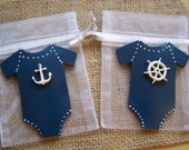 Nautical baby shower, baby onesie nautical party Favor bags 10  pieces