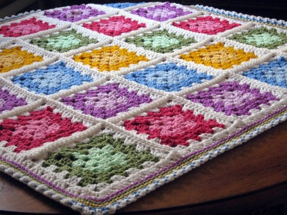 SALE Vibrant Paintbox Granny Square Crochet Baby Blanket Afghan