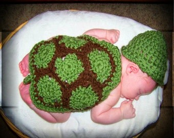 Crochet Turtle Hat and Cape Photography Prop - CROCHET TURTLE HAT - Newborn Crochet Photography Prop