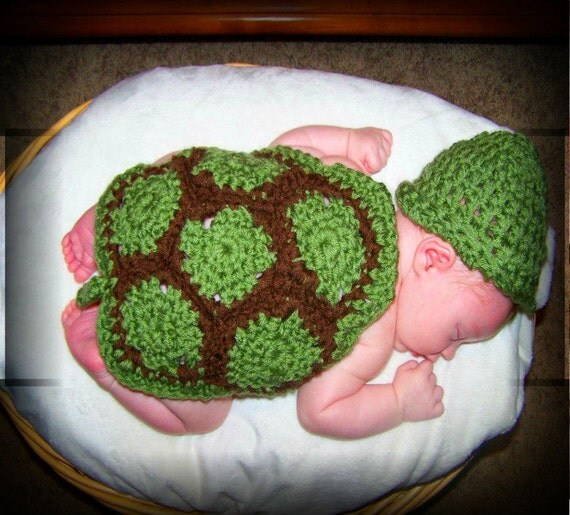 Free Crochet Pattern Turtle Photo Prop : Crochet Turtle Hat and Cape Photography Prop CROCHET TURTLE