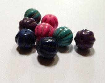 Pumpkin Party - Pumpkin Beads - Brights - Howlite - 15mm - 8 beads