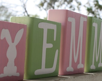 PERSONALIZED LETTER BLOCKS - Easter Bunny Rabbit Sign Baby Shower Centerpiece Gift Custom Spring Name Decoration Nursery