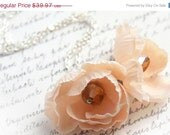 CIJ ChristmasInJuly SALE Romantic Fabric Flower Necklace - Peach Pink - Silver Chain - Shabby Chic - Pastel Fall Gift - KapKaDesign