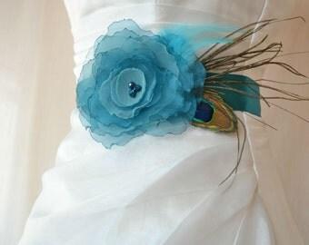 Handcrafted Pine Green Teal Affections Flower Wedding Dress Sash Belt