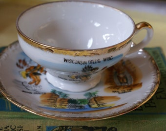 Vintage Cup and Saucer Wisconsin Dells Native American