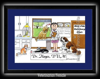 Personalized Cartoon Print - Veterinarian - Male OR Female - 8 x 10 Matted Print   w customer choice of mat color