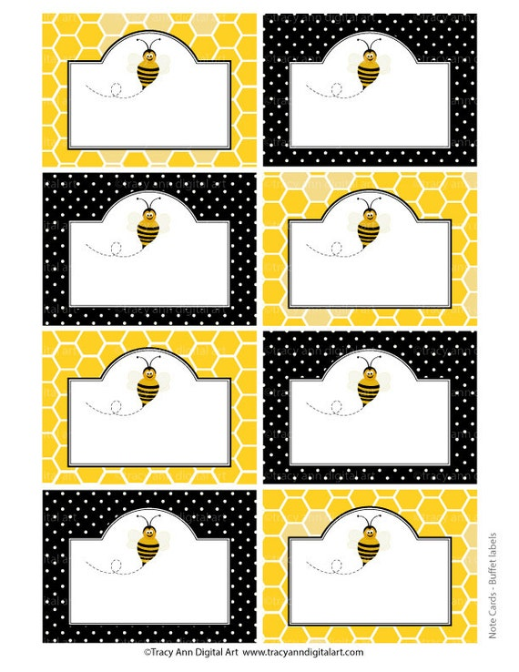 Items similar to Honey Bee Printable Labels or Buffet Cards - Instant ...