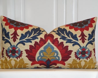 Decorative Pillow Cover - Suzani - Red - Navy blue - Tan - Brown - Floral  - Lumbar Pillow