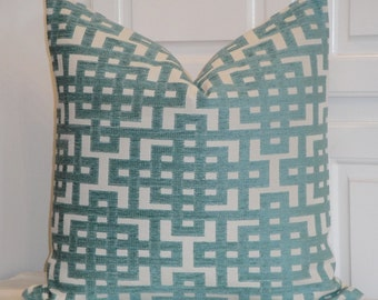 Decorative Pillow Cover - Capri Blue - Trellis Pillow - Lattice - Geometric - Teal Chenille