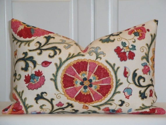 Decorative Pillow Cover Suzani JEWEL Pink Red Blue